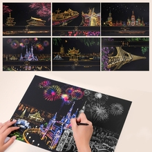 2 Sheets Scratch Pictures Paper 41x29cm Creative Set Screen Postcard DIY Gifts