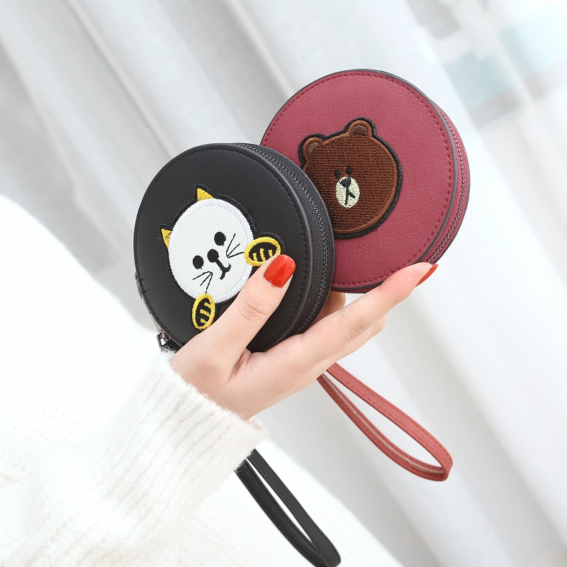 GOWINLIN Womens Coin Purse Small Clutch Female Leather Ladys bags Childrens Handbag Mini Wallet for Girls Cartoon Coin Money
