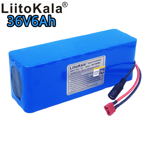 LiitoKala 36v6ah electric bicycle lithium ion battery 18650 42V 6000mAh 10S3P large capacity battery pack bms 500W overcurrent