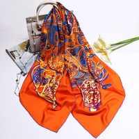 Merk Story Oranje Sjaal Vrouwen Pure Twill Zijden Sjaals Vrouwelijke Vierkante Grote Handgemaakte Zomen Sjaals Wraps Afdrukken 140*140 cm