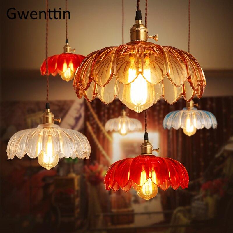 Nordique fleur verre pendentif LED lumières moderne Hanglamp cuisine lampes suspendues salon salle à manger lumière décor à la maison lampe industrielle