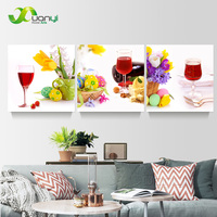 3 Panels Abstract Painting Wine Glass Flower Still Life HD Canvas Print Home Decor Wall Art