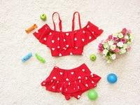 2017 Girls summer love design swimsuit , baby girl swimsuit , swimwear girl , 3pcs/lot WZ06