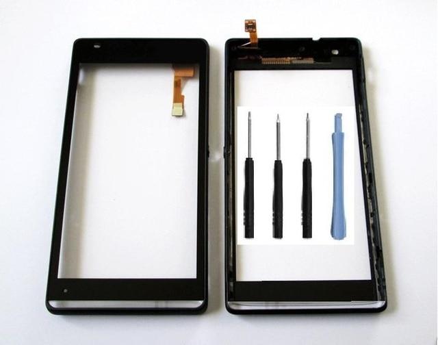 Top frente painel touch screen digitador sensor de vidro para sony xperia sp m35h c5302 c5303 com moldura + kits + adesivo