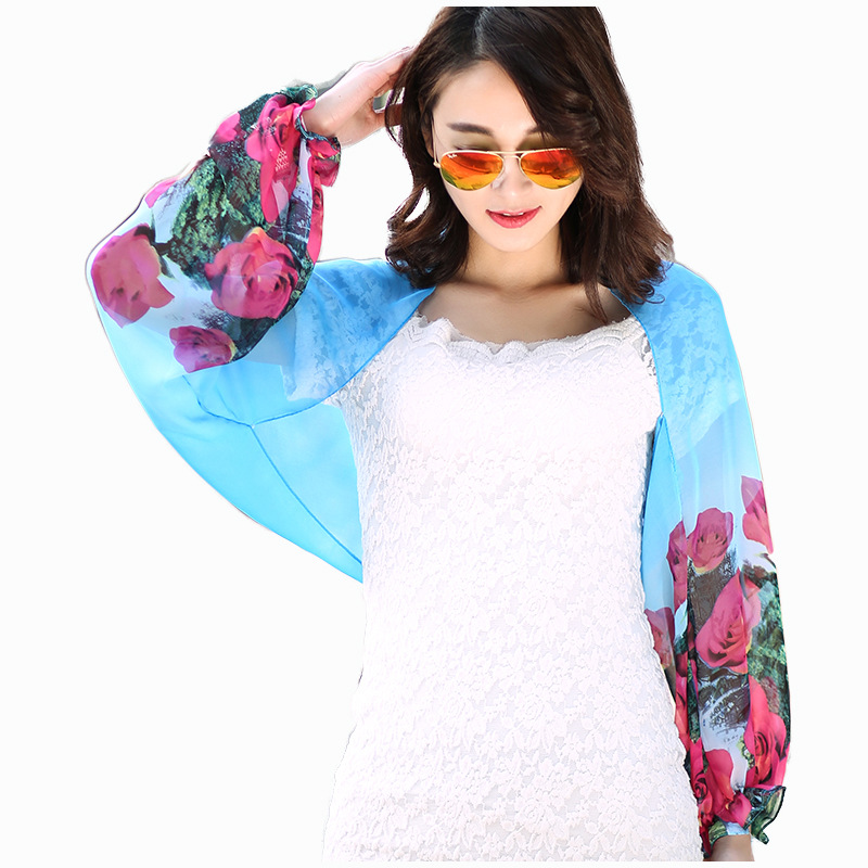 Summer Fashion Printed Foulard Femme Chiffon Scarf Sweet Ruffles Long Sleeve Poncho Women Shawls Stole Scarves Sunscreen Coat