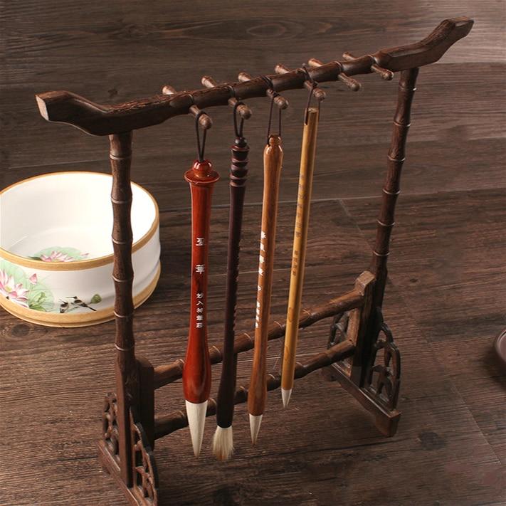 Solid wood 12 Hangers Writing Brush Rack Practical Study Stationery Wenge Calligraphy Traditional Writing Penholder