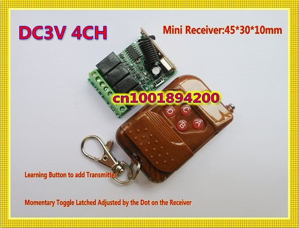 DC3V 3.7V Mini Remote Switch 4CH 2A RF Wireless Remote Switches Input Output 3V Small Volume Receiver + Transmitter 315/433.92 m3 m4 5a m3 touch rf remote with m4 5a cv receiver led dimmer controller dc5v dc24v input 5a 4ch max 20a output