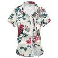 M-5XL 6XL 2016 verano florales shirts hombres nuevo hombre sale de la flor camisa del negocio del mens hombres de manga corta camisetas G0215