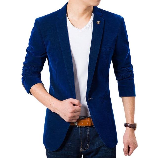 2015 New Arrival Homens De Smoking De Veludo Terno Outono Design de Moda Real azul Magro Dos Homens Homens Jaqueta de Terno Ternos de Casamento Da Marca Para Os Homens