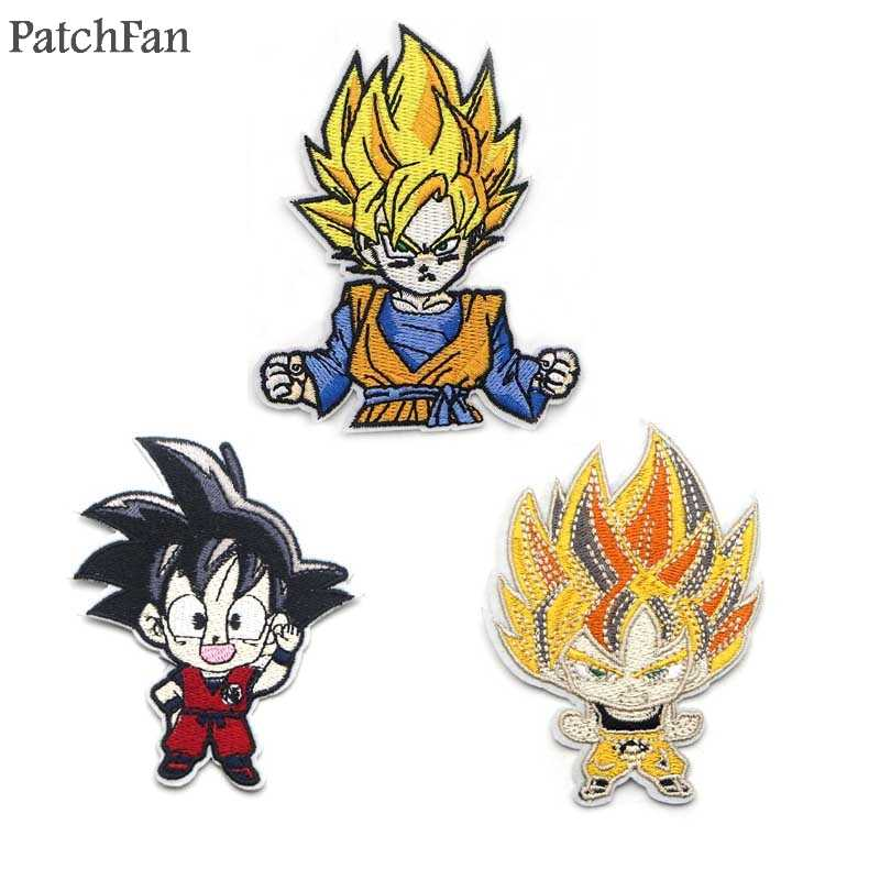 A0563 Patchfan Dragon ball Son Goku Classic Cartoon Iron on Patches Clothing diy Embroidered badges Sew Applique Home & Garden