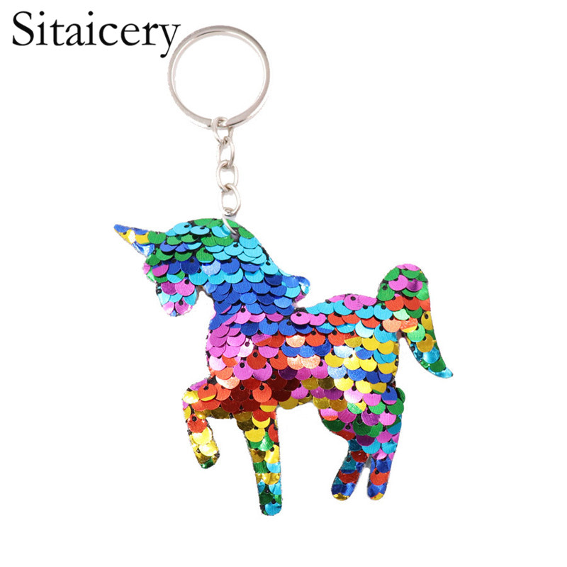 Sitaicery Cute Keychain Pompon Bag Charm Unicorn Key Chain 2019 Christmas Gift Keyring Small Pendant For Keys Porte Clef Trinket