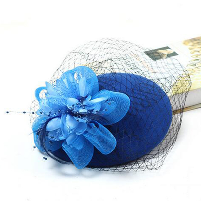 Retro Black Burgundy Beige Royal Blue Floral Wedding Hats For Bridal With Feather Wedding Accessories Chapeau Femme Mariage