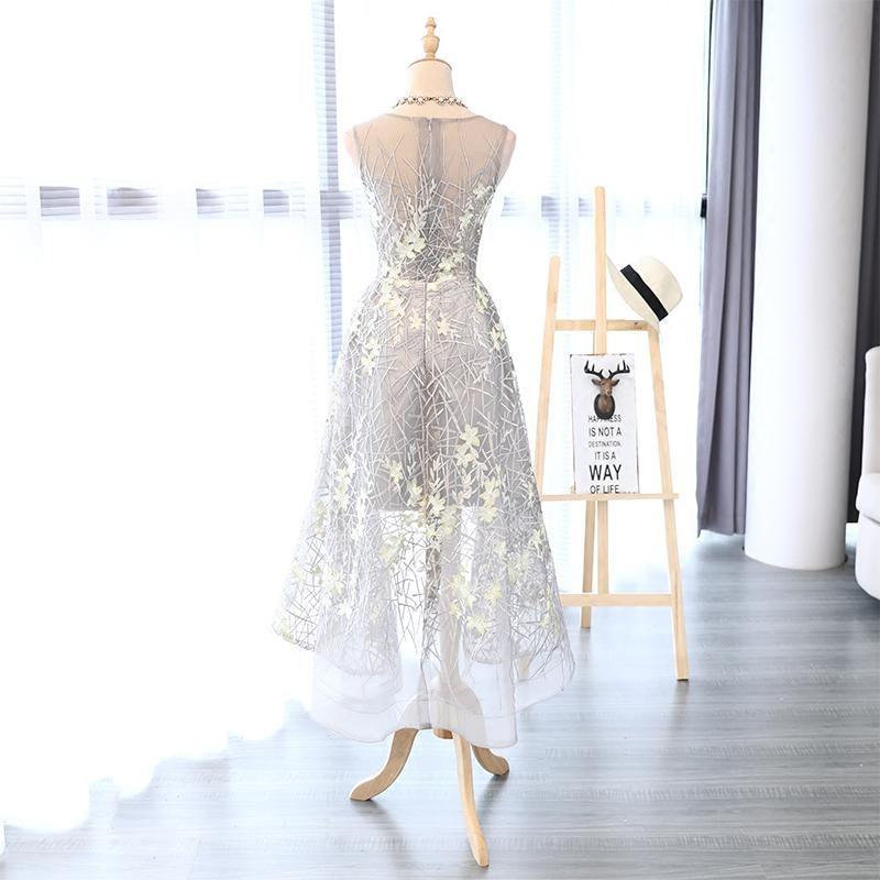 I lager Really Photo Silvery Scoop Neck Tulle Med Appliques Broderi - Särskilda tillfällen klänningar - Foto 5