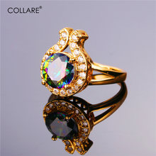Collare Big Stone Rings For Women Wedding Bridal Gold/Silver Color Cubic Zirconia Wholesale Gift Box Crystal Bands Ring R121(China)