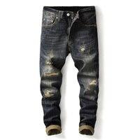 European Vintage Men's Jeans High Quality Straight Fit Retro Designer Ripped Jeans Patch Pants Cotton Denim Classical Jeans Men