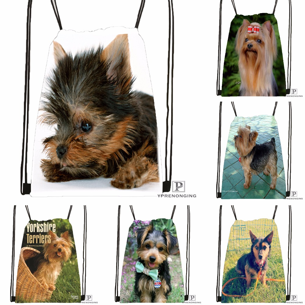 Custom Breeds Of Yorkshire Terrier Drawstring Backpack Bag Cute Daypack Kids Satchel (Black Back) 31x40cm#180531-03-14