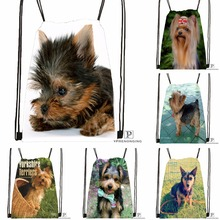 Custom Breeds of Yorkshire Terrier Drawstring Backpack Bag Cute Daypack Kids Satchel (Black Back) 31x40cm#180531-03-14
