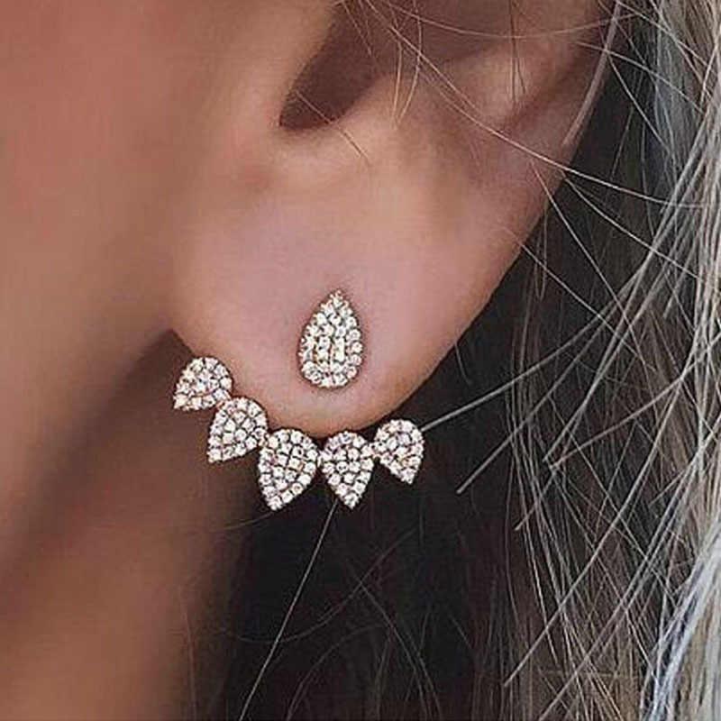 Nuevo pendiente de gota de cristal de moda para mujer, pendientes de joyería de doble cara de color dorado, pendientes brincos para mujer