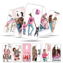 Phone Case For Alcatel 3L 5034D Cases Silicone Soft TPU Cover 3 5052Y 5052D Fundas Bumper Black Brown Hair Baby Mom Girl