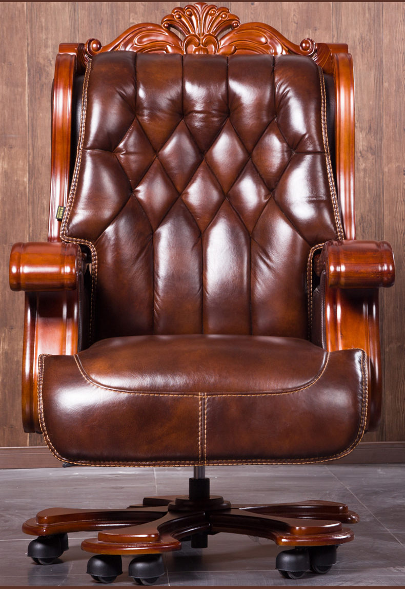 Us 320 0 President Solid Wood Big Class Chair Office Chair Computer Chair Can Lie Down Cowhide Massage Boss Chair In Office Chairs From Furniture