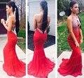 Melhor Venda Sexy Abrir Voltar Evening Vestido de Festa Vestido Até O Chão Longo Red Mermaid Prom Dress Com Frisos EN122