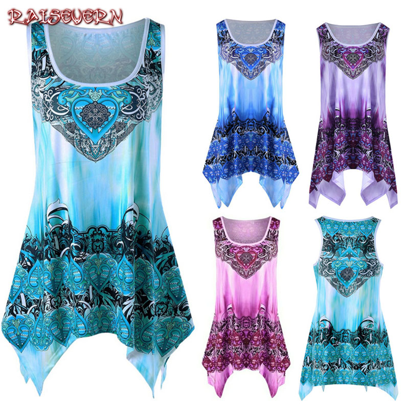 RAISEVERN Sexy Floral Printed Vintage   Tank     Top   Womens Boho Sleeveless Summer Casual Irregular Tees Shirt   Tops   Plus Size Vestidos