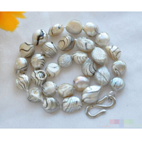 FREE SHIPPING>>>@@ > P4186 17 14mm gray striae baroque freshwater pearl necklace ^^^@^Noble style Natural Fine jewe &