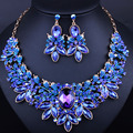 2016 New Luxury Wedding jewelry sets Full rhinestones Imitation Sapphire Necklace earring for women party dress accessory