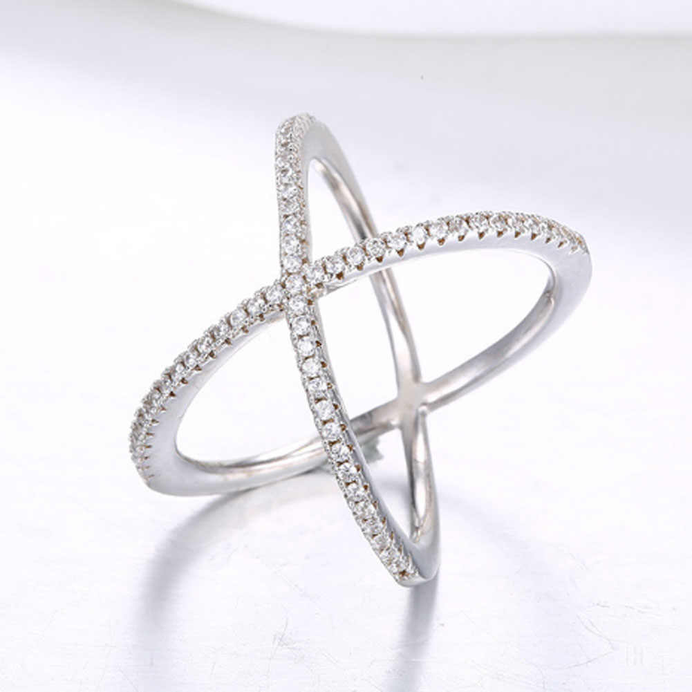 Luxury Cubic Zirconia Micro Pave Setting Big X Shaped Ring ,stunning Jewelry Women's  Accessories
