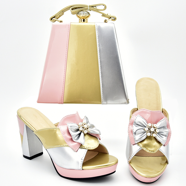 Italian Designer Shoes and Bags Matching Set Women Shoe and Bag Set In Italy High Heels Open Toe Sandals Slip on Shoes for Women