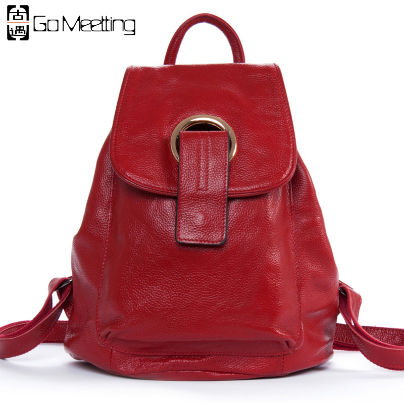 Go Meetting Genuine Leather Women's Backpack Unique Design Cowhide Women Shoulder School Bag High Quality Travel Backpacks WB21 go meetting fashion women waterproof oxford backpack famous designers brand shoulder bag leisure travel backpacks for girl