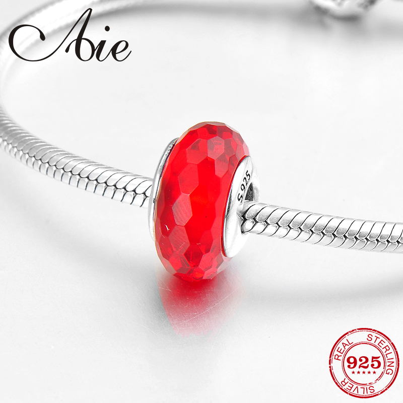 Hot DIY gift 100% real 925 Sterling Silver Bright red fine Murano Glass Bead Fit Original Pandora Charms Bracelet Jewelry making