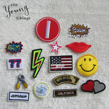 new style fashion cartoon patterend hot melt adhesive applique embroidery patches stripes DIY ornamentation accessory numerals(China)