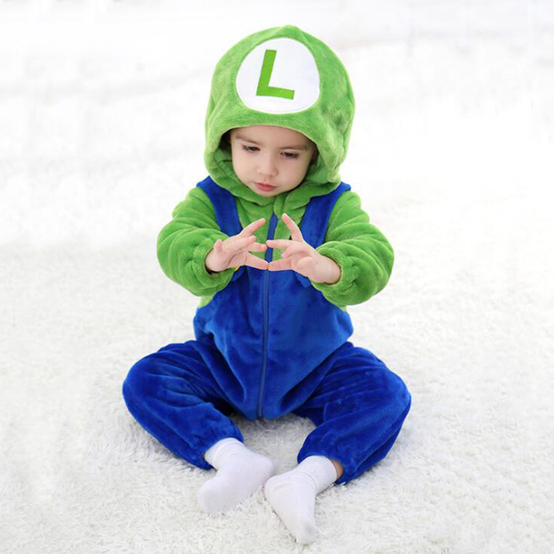 Baby Mario Luigi Kigurumi Newborn Infant Romper Animal Monkey Onesie Cosplay Costume Outfit Hooded Jumpsuit Winter Spring Suit
