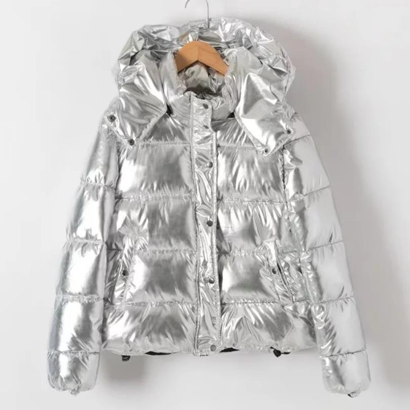 Silver metal color Women winter jackets Short warm coat ladies   parka   dames abrigos mujer invierno