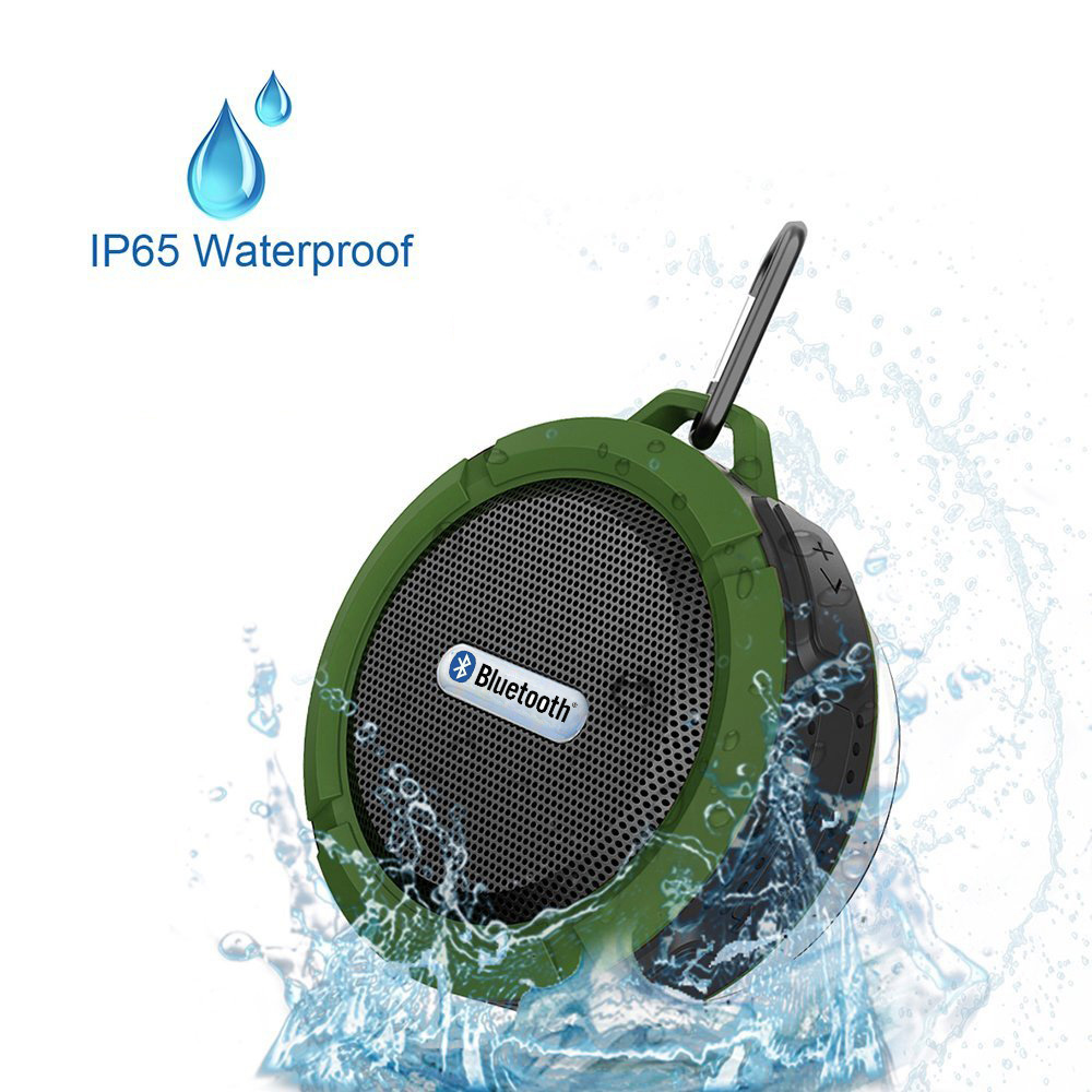Wireless Bluetooth 3.0 Waterproof Outdoor / Shower Speaker, with 5W Speaker/Suction Cup/Mic/Hands-Free Speakerphone – Army Green