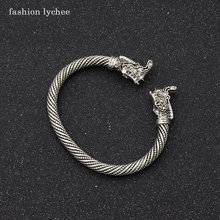 fashion lychee Viking Silver Gold Color Metal Rhinoceros Heads Open Design Bracelet For Men Vintage Jewelry Gift(China)