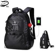 FengDong Внешний USB порт мужской черный водонепроницаемый рюкзак путешествия мужчины одно плечо груди мешок мальчик ноутбук сумка 13 14 дюймовый