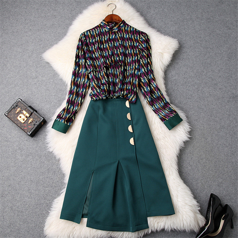 Elegant Lady 2Piece Skirt Set Women 2019 New Designer Spring Long Sleeve Geometric Print Shirt Top+Skirt Suit Set Clothing Sets