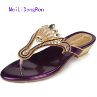 Plus Size 33-41 Genuine Leather Woman Rhinestone Sandals Flat Heel Slipper Female Shoes Ladies Spring Summer Flower Beach Shoes