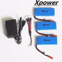 3 pcs 7.4 V 2500 mAh Xpower lipo Batterie avec le Chargeur de L'équilibre et 3-port US Plug Chargeur Syma X8C X8W X8G RC Quadcopter adaptateur