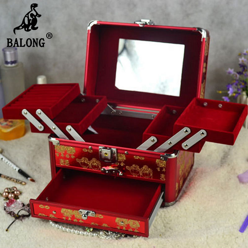 Chinese Style Wedding Jewelry Makeup Storage Box Multilayer