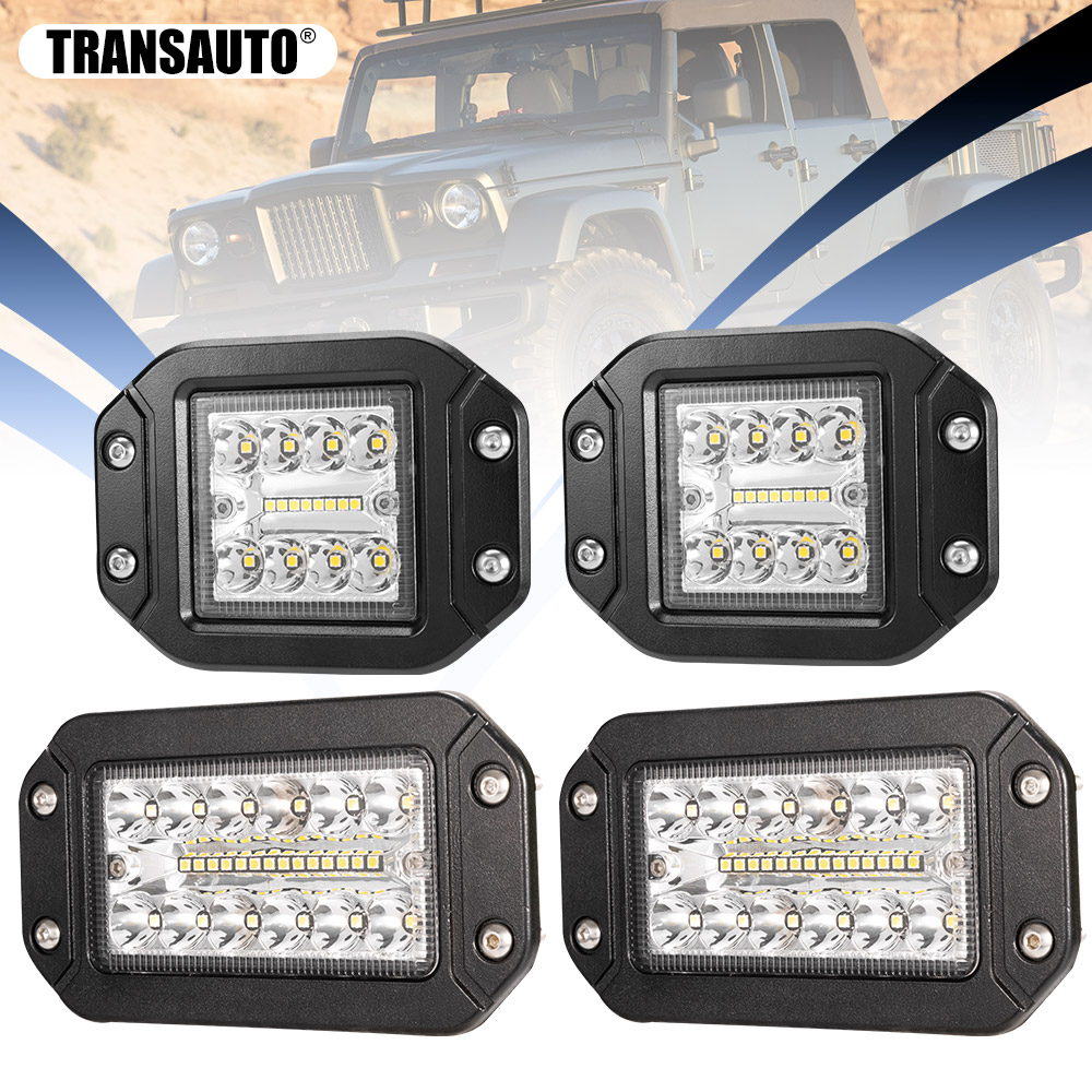 2Pcs 5 Inch/6 Inch Flush Mount LED Pods Light, Combo Beam Triple Row Driving OffRoad Light Bar Work Light For Golf Cart Jeep 12V