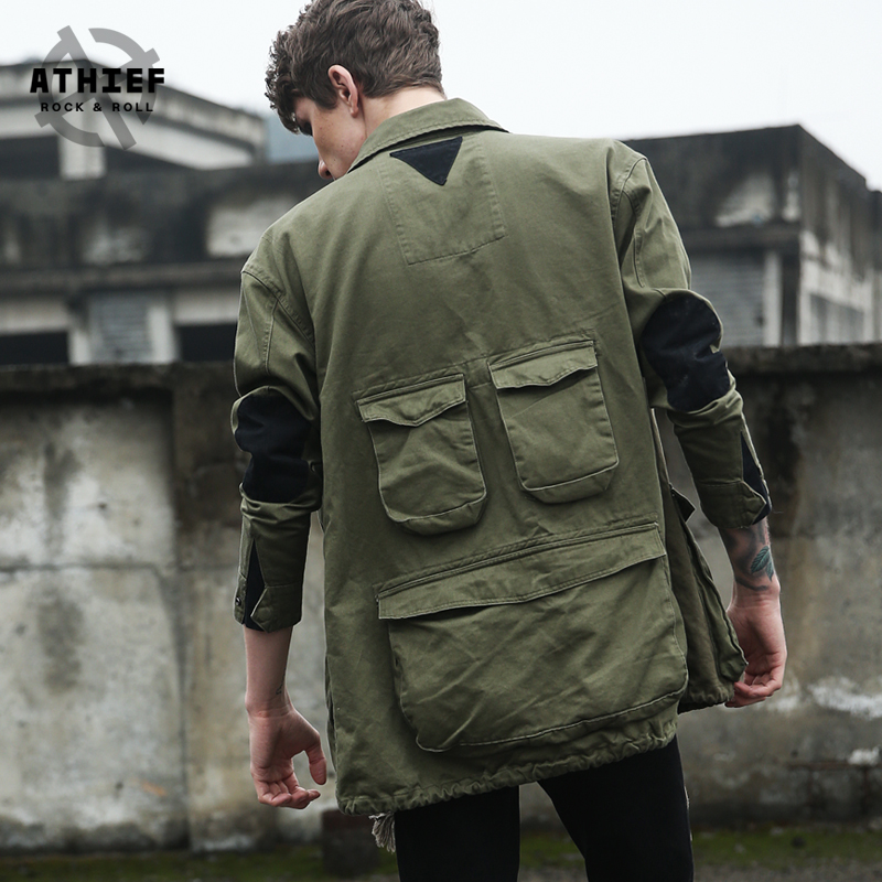 ATHIEF Military Style long Coat Slim solid Army green spring autumn men outwear Multi Pocket long jacket Free Shipping