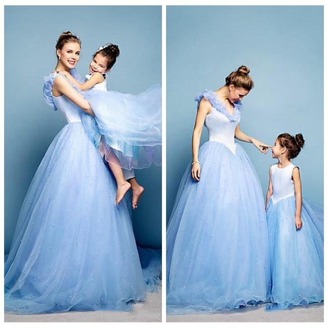 Light Blue Cinderella Prom Dress Beaded Sweep Train Formal Mother ...