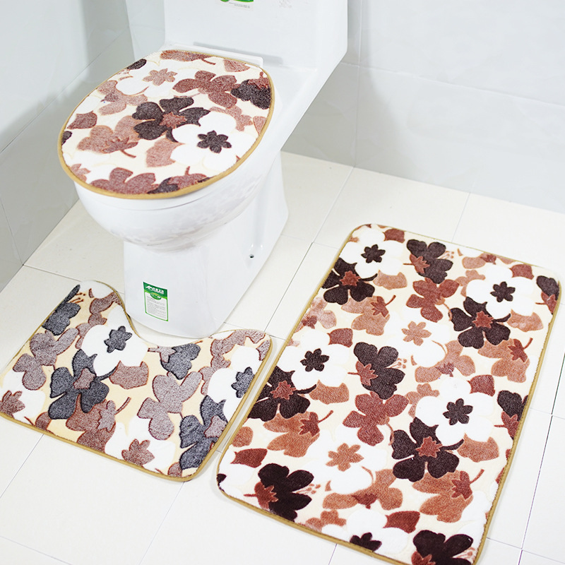 Maple Leaf Printing Bath Rug Toilet Mat 3 Piece Bathroom Mat Sets Toilet Cover Decoration Water-absorbing Non-slip Bath Rug