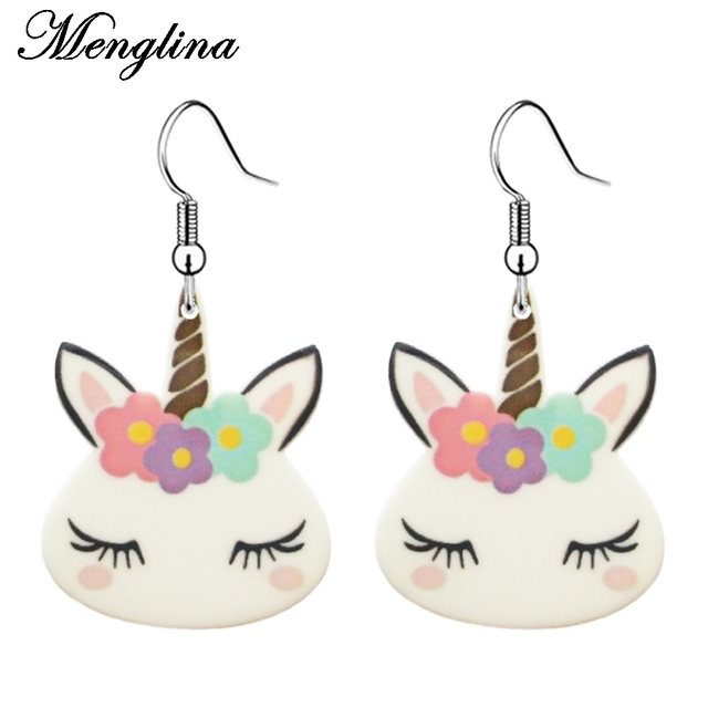 Menglina Fashion Acrylic Cartoon Horse Face Earrings For Children Flat Back Resin Dangle S Jewelry