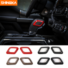 SHINEKA Car Styling Gear Shift Lever Decoration Cover Trim Ring Frame Sticker Fit for Ford F150 2015+ Accessories