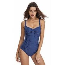 2019 Women Solid Swimwear Sexy Halter One Piece Swimsuit Retro Biquini Bathing Suit Beach Suits Monokini Plus Size XS-XL