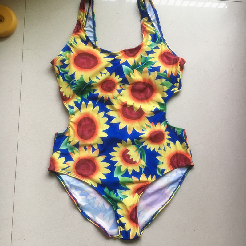 fedd1ef2d8 2017 Summer Yellow Sunflower Print One Piece Swimsuit Women Young Girls  Backless Floral Bandage One Piece Suit Swimwear Monokini-in Body Suits from  Sports ...
